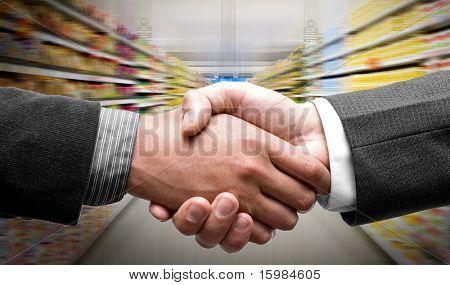 Handshake at supermarket
