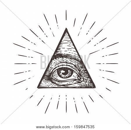 All seeing eye symbol. Vector illustration isolated on white background