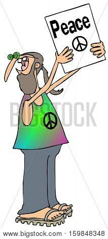 Illustration of a man with a ponytail holding up a protest sign for peace.