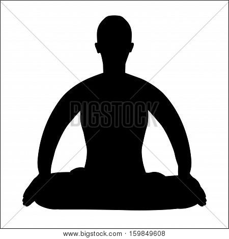 coloring man sitting in lotus position meditating vector illustration