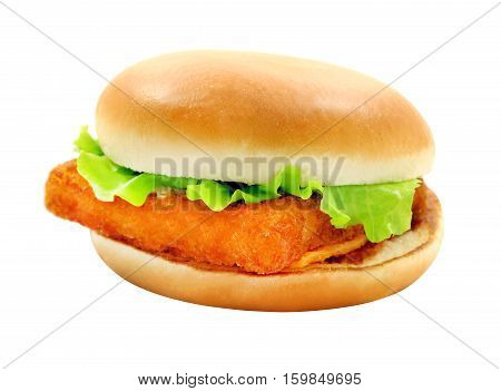 Photos tasty big burger with fish isolated on white background