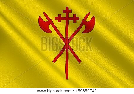 Flag of Sor-Trondelag is a county of Trondelag region in Norway. 3d illustration
