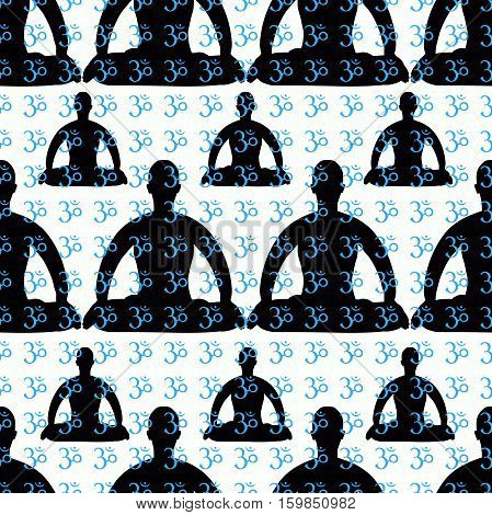 Seamless Pattern Man Sitting In Lotus Position Meditating. Vector Illustration