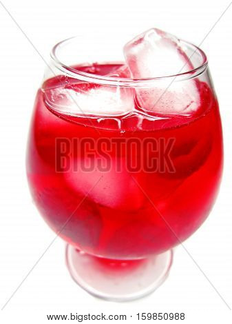 red fruit punch cocktail drink with raspberry and ice