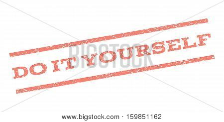 Do It Yourself watermark stamp. Text caption between parallel lines with grunge design style. Rubber seal stamp with dirty texture. Vector salmon color ink imprint on a white background.