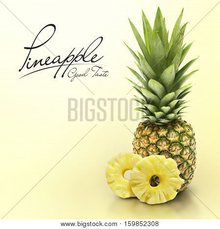 Pineapple on yellow solid background with text