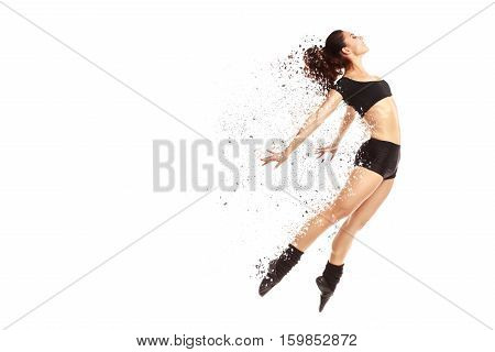 Modern and contemporary style dancer jumping. Applied expansion effect isolated on white.