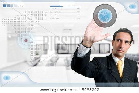 Technologie / Personalwesen-Konzept: erfolgreiche Mann Suche auf digitalen Bildschirm