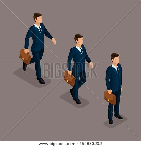 People Isometric 3D isometric business business man clothing movement in a hurry is worth it. The sophisticated concept isolated on a dark background.