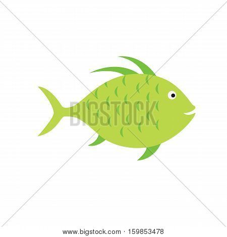 green fish. striped aquarium exotic fish tropical marine fish. vector