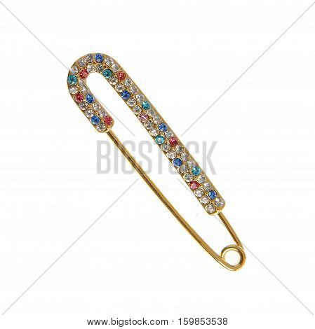 elegant safety pin broche isolated on white background