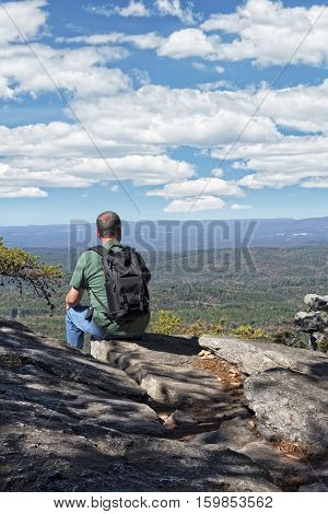 Hiker Enjoying The View From Cheaha Overlook At Cheaha Mountain State Park In Alabama