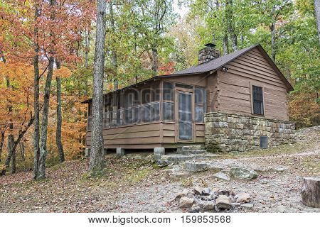 Cabin At DeSoto State Park In Alabama