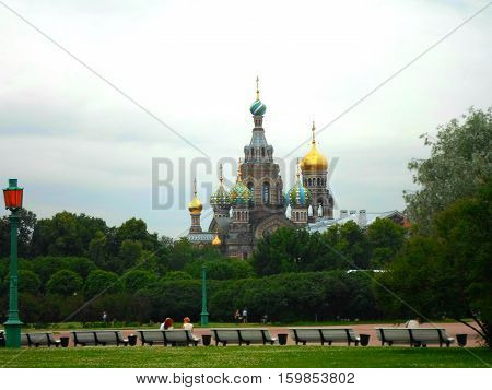 Church of the Resurrection of Christ (Saviour on Spilled Blood), View from the park, St. Petersburg, Russia