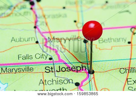 St Joseph pinned on a map of Missouri, USA