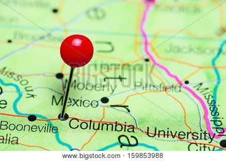 Columbia pinned on a map of Missouri, USA