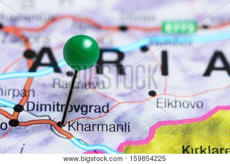 Kharmanli pinned on a map of Bulgaria