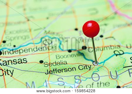 Jefferson City pinned on a map of Missouri, USA