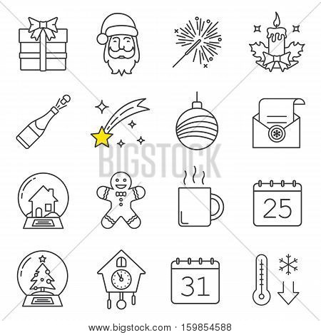 Christmas and New Year linear icons set. Gift box, Santa Claus, sparkler, candle, champagne, falling star, Xmas tree ball, snow globes, ginger man, hot cup. Thin line. Isolated vector illustrations