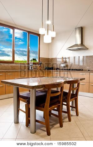 Interior design series: classic and modern kitchen with landscape view