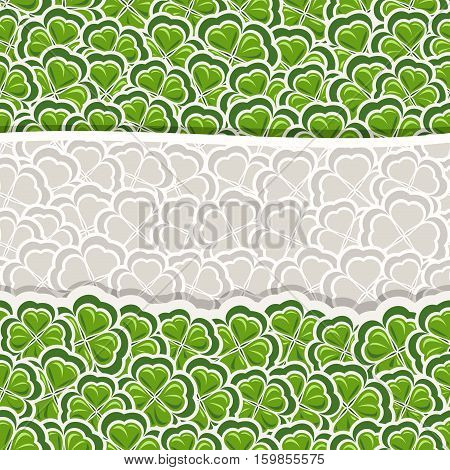 Vector Clover Pattern for St Patrick's Day, Green Shamrock banner with border for greeting text, ornament clover foliage, gray shamrock pattern, floral background irish patrick trefoil, green art lawn