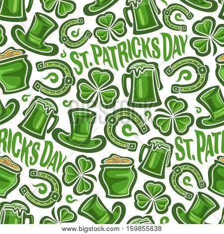 Vector Seamless Pattern on St. Patrick's Day theme, Green leprechaun hat, lucky horseshoe, magic clover, pot with golden coins on white background, green wrapping paper pattern