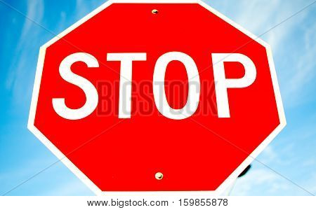 Close shot of a really convincing stop sign