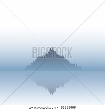 Island landscape vector illustration with fog or mist atmosphere. Calm, serene, tranquil nature scenery. Eps10 vector illustration.