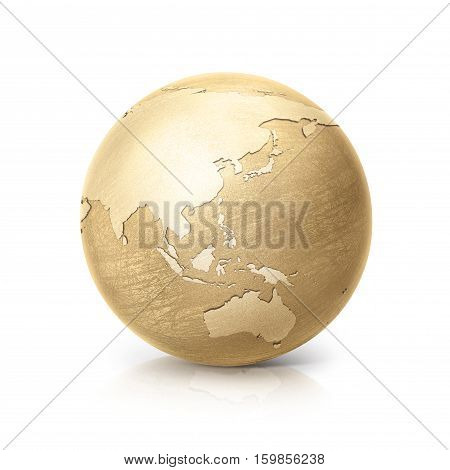 brass globe 3D illustration asia and australia map on white background