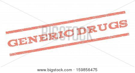 Generic Drugs watermark stamp. Text tag between parallel lines with grunge design style. Rubber seal stamp with dust texture. Vector salmon color ink imprint on a white background.