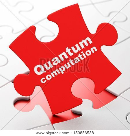 Science concept: Quantum Computation on Red puzzle pieces background, 3D rendering