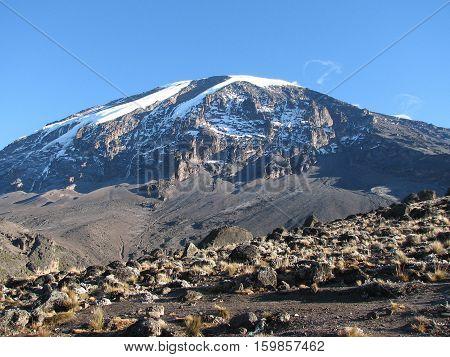 Stunning evening view of Kibo with Uhuru Peak (5895m amsl, highest mountain in Africa) at Mount Kilimanjaro,Kilimanjaro National Park