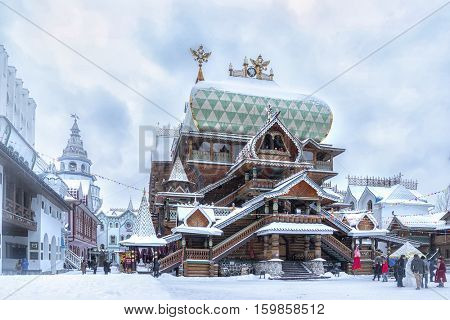MOSCOW -NOVEMBER 12, 2016: Wooden church inside the iconic complex