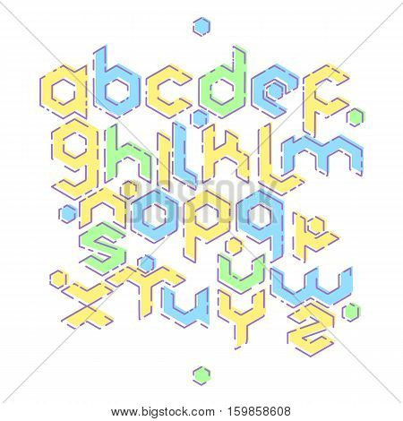 Hexagonal futuristic alphabet. Vector stock illustration of english letters in modern geometric mbe style in blue yellow green colors