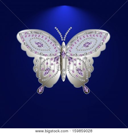 silver butterfly jewelry with precious stones .Isolated vector illustration.