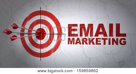 Success marketing concept: arrows hitting the center of target, Red Email Marketing on wall background, 3D rendering