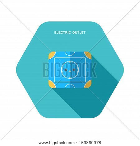Vector isolated icon of electric blue and yellow rosette on the turquoise hexagon background with shadow for euro plug.