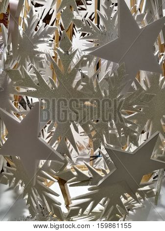 Embellished Christmas decoration white glitter snowflake and white star