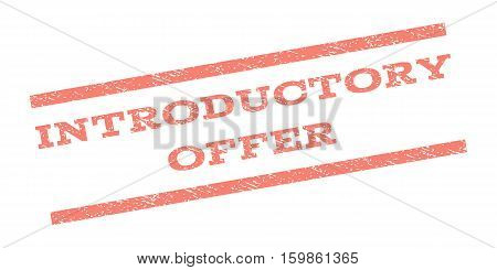 Introductory Offer watermark stamp. Text caption between parallel lines with grunge design style. Rubber seal stamp with unclean texture. Vector salmon color ink imprint on a white background.