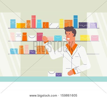 Pharmacy store concept. Pharmacevt man character. Shelves with pills and othe midicine. Flat design with outline elements. Fully editable vector.