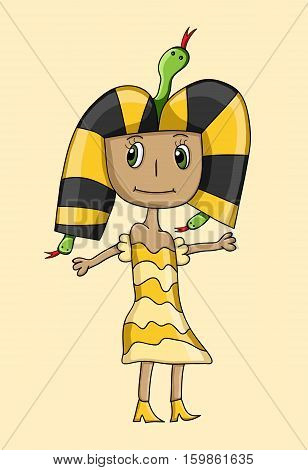 kids style drawing of Queen Cleopatra vector