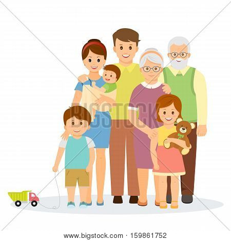 Family portrait in flat style.Smiling family with parents, children and grandparents.Isolated on white background.Vector illustration.
