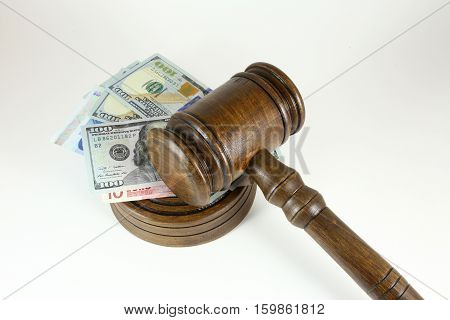 auction hammer , symbol of authority and money. poster