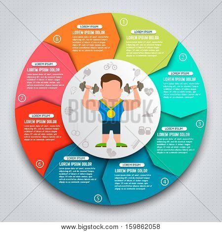Colorful sport infographic elements. Sportsmen with kettlebells. Design elements for websites banners motion graphic. Vector illustration.