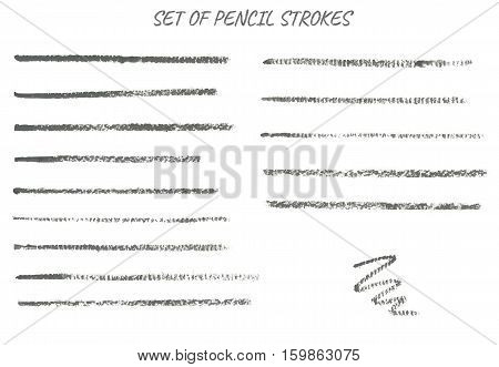 Set of thin pencil strokes. Grey color.Isolated design elements.Brushes are included in eps.