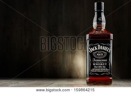 POZNAN POLAND - DEC 2 2016: Jack Daniel's a brand of the best selling American whiskey in the world produced by the Jack Daniel Distillery and owned by the Brown-Forman Corporation since 1956