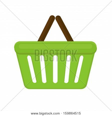 Shopping basket icon flat style. Plastic shopping basket in a supermarket isolated on white background. Shopping bag. Vector illustration