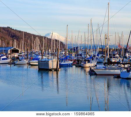 Marina With Boats And Mt.ranier In Tacoma, Wa.