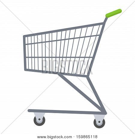 Shopping carts icon flat style. Metal shopping trolley, for purchases in a supermarket isolated on white background. Symbol, sign. Vector illustration