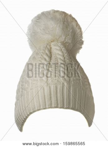 Women's Knitted Hat Isolated On White Background.hat With Pompon . White Hat